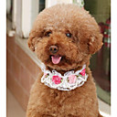 billige Hundeklær og tilbehør-Hunder Katter Krave Justerbar Størrelse Sammenleggbar Pustende Dekorasjon Netting Blomst PU Leather Hvit Rosa