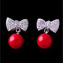baratos Relógios Femininos-Mulheres Zircônia Cubica Brincos Curtos - Com Laço Adorável Fashion Jóias Vermelho Para Casamento Encontro 1