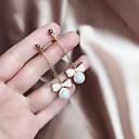 저렴한 귀걸이-롱 드랍 귀걸이 펄 귀걸이 리본장식 숙녀 단순한 단 우아함 보석류 핑크 제품 선물 일상