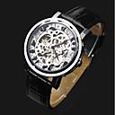 preiswerte Herrenuhren-ASJ Herrn Armbanduhr Mechanische Uhr Automatikaufzug Transparentes Ziffernblatt Leder Band Analog Luxus Modisch Schwarz - Silber