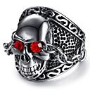 preiswerte Hosen-Herrn Synthetischer Rubin Graviert Statement-Ring Totenkopf Calaveras Punk & Gothic Skelett Cool Moderinge Schmuck Silber Für Party / Abend Alltag Klub 9 / 10 / 11 / 12