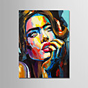abordables Collar Hombre-Pintura al óleo pintada a colgar Pintada a mano - Personas Modern Sin marco interior / Lienzo enrollado