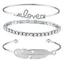 cheap Barware & Openers-3pcs Bracelet Bangles Cuff Bracelet - Wings, Bowknot Ladies, Fashion Bracelet Jewelry Silver For Daily Street