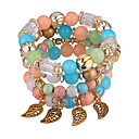 cheap Necklaces-Stack Strand Bracelet - Leaf European, Fashion Bracelet Green / Blue / Pink For Party / Daily