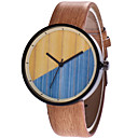 cheap Dog Clothing & Accessories-Men's Women's Wrist Watch Quartz Quilted PU Leather Brown / Grey Casual Watch Analog Fashion Wood - Brown Brown black Wood