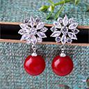 baratos Broches-Mulheres Zircônia Cubica Brincos com Clipe - Flor Fashion Vermelho Para Casamento Noivado