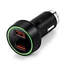 cheap Car Chargers-Car USB Charger Socket 2 USB Ports 12V/3A  LED indicator/QC 3.0/multiple safety protection