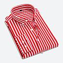 economico Camicie da uomo-Camicia Per uomo Ufficio Lavoro A strisce Colletto italiano visibile - Cotone Rosso XXXL / Manica lunga