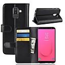 رخيصةأون حافظات / جرابات هواتف جالكسي A-غطاء من أجل Samsung Galaxy J8 / J7 Duo / J7 (2017) محفظة / حامل البطاقات / مع حامل غطاء كامل للجسم لون سادة قاسي جلد أصلي