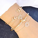 cheap Bracelets-Women's Layered Hollow Out Chain Bracelet Cuff Bracelet Bracelet - Leaf, Creative Geometric, Vintage, Fashion Bracelet Gold For Gift Birthday / 4pcs