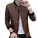 cheap Men's Jackets-Men's Daily Basic Fall & Winter Regular Jacket, Solid Colored Stand Long Sleeve Polyester Blue / Brown / Black XXL / XXXL / 4XL