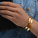 billige Armbånd-2pcs Dame Skulptur Armbånd Manchetarmbånd Armbånd sæt Guldbelagt Damer Etnisk Armbånd Smykker Guld Til Fest Gave