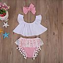 رخيصةأون أدوات & أجهزة المطبخ-مجموعة ملابس قطن قصيرة كم قصير دانتيل / شريطة لون سادة رياضي Active للفتيات طفل / طفل صغير