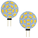 hesapli LED Bi-pin Işıklar-3 w led g4 araba deniz camper rv 15 leds 5730 smd yuvarlak aralığı 120 derece ac / dc 12 v-24 v soğuk / sıcak beyaz (2 adet)