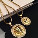 ieftine Coliere-Bărbați Coliere cu Pandativ Stl Rolo Gravat cap Faţă Declarație La modă Rock Hip Hop Aliaj Auriu 60 cm Coliere Bijuterii 1 buc Pentru Stradă Club