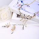 זול טבעות-בגדי ריקוד נשים מסוגנן סט תכשיטים Leaf Shape מסוגנן, אומנותי, עיצוב מיוחד לִכלוֹל טבעות חישוקים שרשרת Bib זהב עבור יום הולדת מסיבת ערב / עגילים
