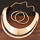 cheap Kid tablet-Women's Hollow Jewelry Set Statement, Ladies, Simple, European Include Hoop Earrings Necklace Gold / Silver For Evening Party