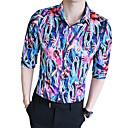 رخيصةأون قمصان رجالي-رجالي قميص, ألوان متناوبة ياقة كلاسيكية نحيل / الصيف