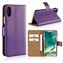 رخيصةأون Huawei أغطية / كفرات-غطاء من أجل Apple iPhone X / iPhone 8 Plus / iPhone 8 محفظة / حامل البطاقات / مع حامل غطاء كامل للجسم لون سادة قاسي جلد أصلي