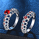 cheap Rings-Women's Red Synthetic Ruby Hollow Out Ring Ring Set - Platinum Plated, Imitation Diamond Skull, Sweet Heart Trendy, Fashion, French 6 / 7 / 8 / 9 / 10 Silver For Party Date / 2pcs
