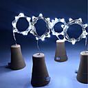 abordables Focos LED-hkv® solar 8led botella de vino con forma de corcho led estrellado cadena luces noche luces de hadas lámpara para boda de jardín y fiesta de navidad