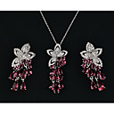 cheap Car Headlights-Women's Multicolor Cubic Zirconia Trace Jewelry Set Rhinestone Flower, Pear Ladies, Romantic, Sweet, Elegant Include Drop Earrings Pendant Necklace Green / Blue / Pink For Party Date