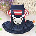 preiswerte Bekleidung & Accessoires für Hunde-Hunde / Katzen Kleider Hundekleidung Gestreift / Bär Schwarz / Rot Baumwolle Kostüm Für Haustiere Weiblich Stilvoll / Lässig / Alltäglich