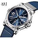 رخيصةأون أدوات المطر-ASJ رجالي ساعة رياضية ياباني كوارتز ياباني جلد طبيعي أسود / أزرق 100 m مقاوم للماء رزنامه مماثل كاجوال موضة - أزرق أسود / أبيض سنة واحدة عمر البطارية / SSUO AG4