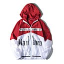 cheap Men's Jackets-Men's Daily Regular Jacket, Color Block / Letter Hooded Long Sleeve Polyester Black / Red / Navy Blue L / XL / XXL