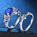 cheap Bathroom Gadgets-Women's Blue Sapphire Synthetic Sapphire Hollow Out Solitaire Round Cut Statement Ring Ring Ring Set Copper Platinum Plated Enamel Heart Love Ladies Romantic Fashion French Ring Jewelry Silver For