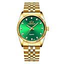 ieftine Ceasuri Bărbați-Bărbați Ceas Elegant Quartz Oțel inoxidabil Auriu Rezistent la Apă Iluminat Analog Clasic Modă minimalist - Alb Negru Verde