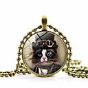 저렴한 반지-여성용 클래식 팬던트 목걸이 고양이 숙녀 패션 귀여운 스타일 Steampunk 러블리 골드 블랙 실버 45+5 cm 목걸이 보석류 1 개 제품 홀리데이 작동