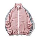 povoljno LED reflektori-Muškarci Dnevno Osnovni Normalne dužine Jakna, Jednobojni Ruska kragna Dugih rukava Poliester Blushing Pink M / L / XL