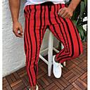 رخيصةأون بنطلونات الرياضة-رجالي أناقة الشارع مناسب للبس اليومي بنطلونات بنطلون - لون سادة / مخطط أبيض أحمر أصفر XL XXL XXXL