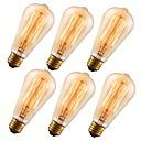 abordables Lampes à Filament LED-6-pack gmy st64 60w 110-130v edison ampoule antique style vintage cage d'écureuil léger filament e26 ambre pour la maison luminaires