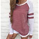 ieftine Rochii de Damă-Pentru femei Mărime Plus Size Tricou De Bază - Bloc Culoare Dungi / De Bază Roșu-aprins / Primăvară / Vară / Toamnă / Iarnă