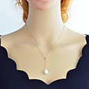 cheap Necklaces-Women's Y Necklace Lariat Cheap Simple Fashion Pearl Chrome Gold Silver 46 cm Necklace Jewelry 1pc For Daily
