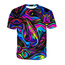 economico T-shirt e canotte da uomo-T-shirt Per uomo Con stampe, 3D / Arcobaleno Rotonda - Cotone Arcobaleno XXXL / Estate