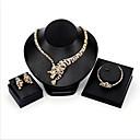 billige Mode Halskæde-Dame Kvadratisk Zirconium Klassisk Smykkesæt Guldbelagt Tiger Mode Omfatte Brude Smykke sæt Guld Til Bryllup Fest