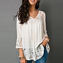 baratos Blusas Femininas-Mulheres Tamanhos Grandes Blusa Renda, Sólido Decote V Laranja XXXL