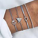 preiswerte Armband-4pcs Damen Ketten- & Glieder-Armbänder Armband mit Anhänger Retro Seil Landkarten Herz Retro Koreanisch Boho schnurr Armband Schmuck Silber Für Alltag Strasse Ausgehen