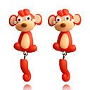رخيصةأون لمبات السيارات LED-نسائي حلقات أقراط أمامية وخلفية قرد حيوان لطيف للأطفال الأقراط مجوهرات أحمر من أجل مواعدة 1 زوج