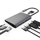 billige Mac-kabler-USB 3.1 Type C to Skjermport / USB 3.0 / USB 3.1 Type C / RJ45 / 3,5 mm lyd USB-hub 9 porter Høyhastighet / Med kortleser (s) / Datalagring / med Ethernet
