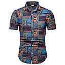 رخيصةأون أغراض الحماية-رجالي طباعة قياس كبير - قطن قميص, ترايبال / كم قصير