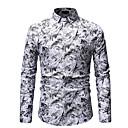 abordables Camisas de Hombre-Hombre Algodón Camisa Geométrico Azul Piscina XL