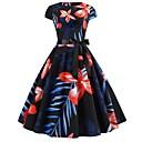 billige Vintage-dronning-Dame Vintage Swing Kjole - Blomstret, Trykt mønster Midi