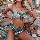رخيصةأون أقراط-أخضر S M L ورد, ملابس السباحة ثلاثة قطع عالي الخصر أخضر بوهو نسائي