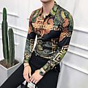 baratos Camisas Masculinas-Homens Tamanho Europeu / Americano Camisa Social Estampado, Geométrica / Tribal Verde XL / Manga Longa