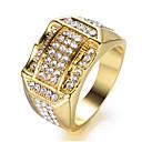 billige Ringe-Herre Kvadratisk Zirconium Klassisk Ring Glæde Stilfuld Moderinge Smykker Guld / Hvid Til Fest Daglig 8 / 9 / 10 / 11 / 12