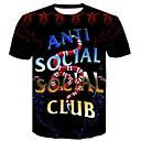 Χαμηλού Κόστους Ήχος και βίντεο-Ανδρικά Μεγάλα Μεγέθη T-shirt Βαμβάκι 3D / Κινούμενα σχέδια / Γράμμα Στρογγυλή Λαιμόκοψη Λεπτό Στάμπα Μαύρο XXL
